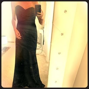 David's Bridal Black Strapless Gown